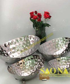 Tô Inox Trưng Bày Buffet Chân Tròn SN#520146