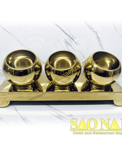 Giá Để Thức Ăn Buffet Inox Vàng 3 Tô SN#520347/1
