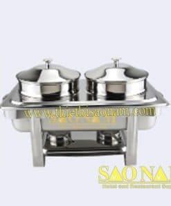 Nồi Hâm Cháo - Soup Sacona Hình Chữ Nhật Chân Inox SN#520855